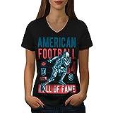 wellcoda américain Football sport Femme T-shirt à col en V