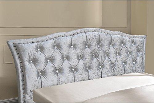 Cherry Tree Furniture GARNET Luxury Silver Crushed Velvet Bed Frame ...