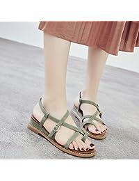 ZHANGJIA MsFlat Heel Sandalen Rom mit Flachem Boden Toe Sandalen