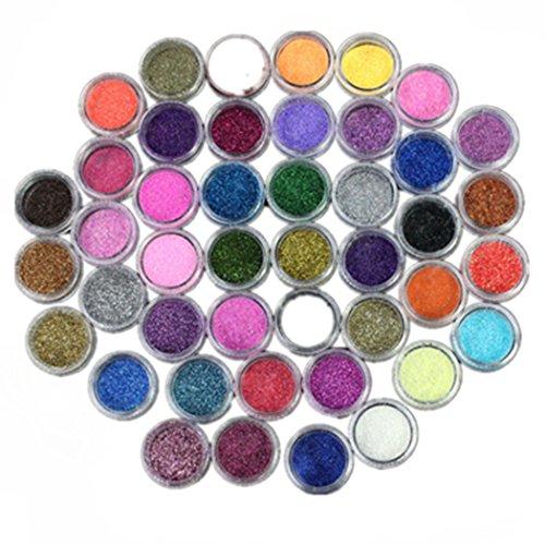 Susenstone Conseils de Professionnels 45 PCs Couleur Glitter Poudre Acrylique Poussière Nail Art Décoration