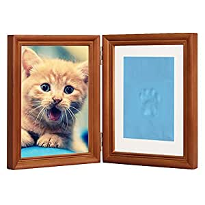 """Coffee Personalized Dog or Cat Pet Memorial Frame Paw Prints Desk Photo Frame Modern Wall Hanging Double Picture Frames with Clay Imprint Kit Perfect Pets Keepsake - 5"""" x 7"""" or 4"""" x 6"""""""