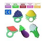 Baby Kinderkrankheiten Spielzeug, natürliche und organische weiche Silikon Obst und Gemüse Beißring Set (5 Stück)