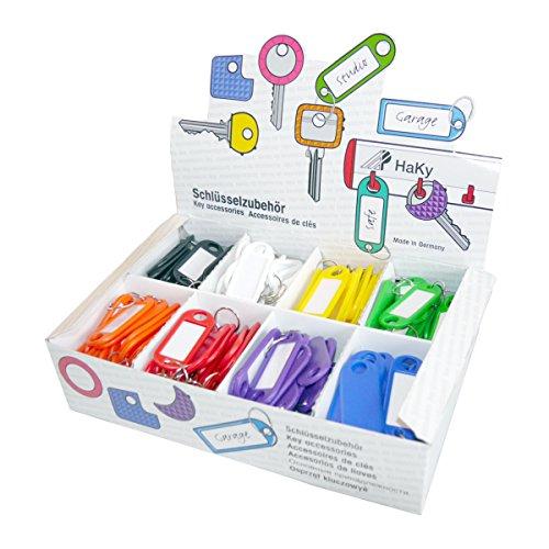Wedo 2628018 Schlüsselanhänger aus Kunststoff mit Ring, auswechselbare Etiketten 200 Stück im Display, farbig sortiert