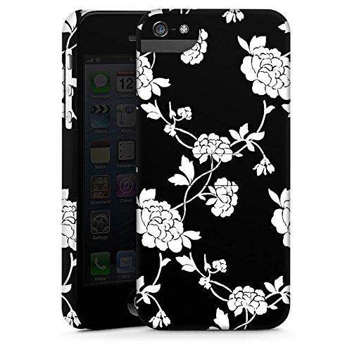 Apple iPhone X Silikon Hülle Case Schutzhülle Blumen Muster Schwarz Premium Case StandUp