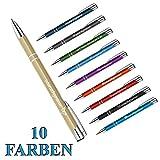 polar-effekt 10 Stück Metall Oleg Kugelschreiber mit Gravur des Namens - Personalisierte Geschenkidee Mitbringsel - blau schreibend - Farbe Gold