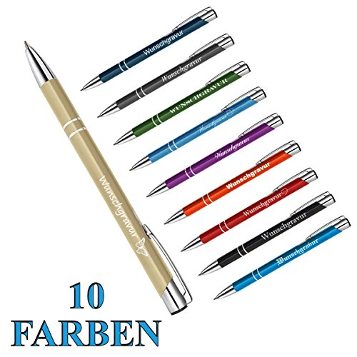 "1 Metall - ""Oleg"" Kugelschreiber mit individueller Wunschgravur Gravur ( Farbe - Gold )"