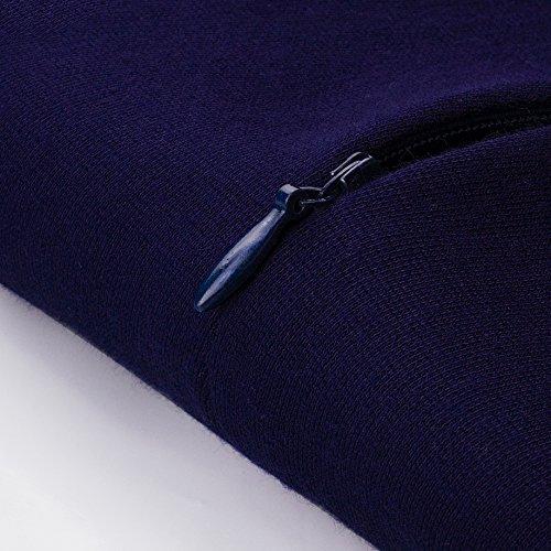 Homeyee Frauen elegante dunkelblaue Knopf Hülsen-dünne Abend-Partei-Geschäfts, figurbetontes Kleid B329 (EU 36 = Size S, Dunkelblau) -