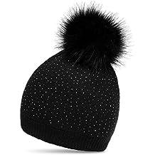 6e926c07ad7 CASPAR MU191 Bonnet en tricot avec pompon en fausse fourrure et paillettes  pour femme