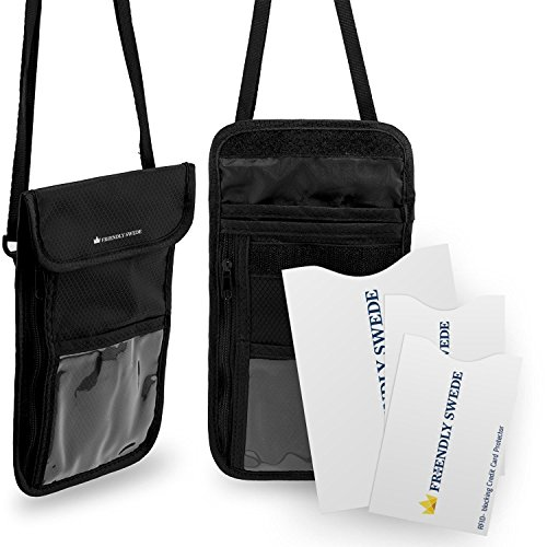 The Friendly Swede Porta Documentos con Correa para Cuello y Fundas Protectoras RFID (Pack de 2 Portadocumentos) - GARANTÍA DE POR VIDA