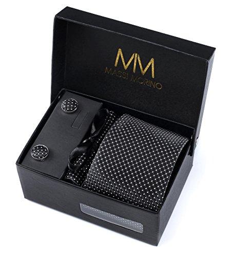 Massi Morino Herren Designer Krawatte - Box Set mit Einstecktuch, Manschettenknöpfe und Krawattennadel, handgenäht aus Mikrofaser Kunstseide in verschiedene Farben, inkl. Geschenkbox (Schwarz Gepunktet) (Anzüge Herren-designer)