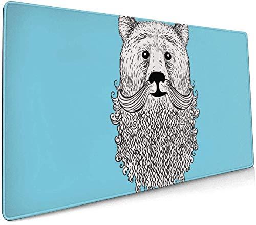 ongzhubaih Doodle Bear Portrait avec Barbe frisée Cool Animal Comfort Tapis de Souris 15.8x35.5 po pour Ordinateur Portable de Bureau Console PC etc.