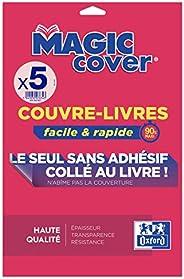 OXFORD 5 Feuilles Couvre-livres Magic Cover A4 PVC Lisse Epaisseur 9/100ème Incolore