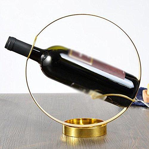 MEIDUO Casier à vin Porte-vins en fer Bronze d'or Creative Round Newfangled pourcomplimenter tout espace