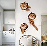 GiftsHome 3D Removable Large Cat Stickers Cartoon Funny Cat Pet Animal Wallpaper Decoration Easy to Stick Safe Art Cute Kitten Home Decal for Bedroom, Nursery, Toilet, Kitchen etc.(15.7 x 28.7 in)