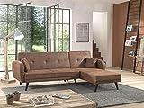 Bestmobilier - Folke Vintage - Canapé d'angle réversible Convertible - Style scandinave rétro - Microfibre Marron Vieilli