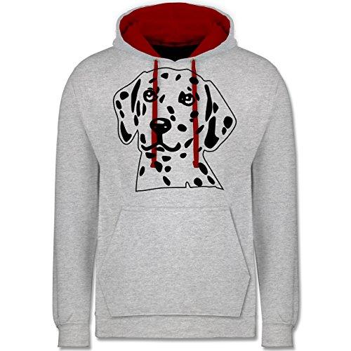 Hunde - Dalmatiner - Kontrast Hoodie Grau Meliert/Rot
