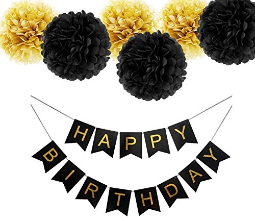 r Papier Pompoms Blumen mit 2,5 Meter Streifen für Geburtstagsfeier Dekorationen (Schwarz Gelb) (Gelben Banner)