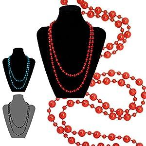 1 trendige Perlenkette Kette in versch. Farben rot petrol schwarz