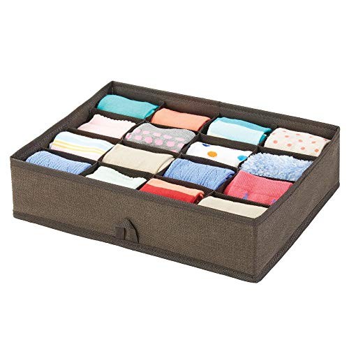 mDesign Schubladenbox - Box mit 16 Fächern zur platzsparenden Kleideraufbewahrung - für Socken, Kinderunterwäsche, Leggings, Schmuck etc. - braun