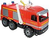 SIMM Spielwaren Lena 02058 - Starke Riesen Feuerwehr Actros 65 cm, 3-Achser mit solider Tragkraft, 1,5 Liter Wassertank und Wasserspritze bis zu 8 Meter