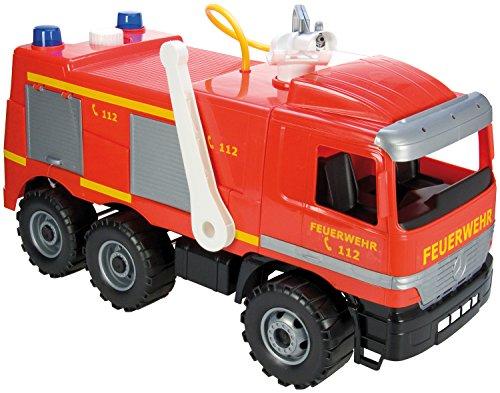 feuerwehrauto Lena 02058 - Starke Riesen Feuerwehr Mercedes Benz Actros, ca. 65 cm, großes Feuerwehrauto mit 3 Achsen, 1,5 Liter Wassertank, Wasserkanone bis 8 Meter, robustes Spielfahrzeug für Kinder ab 3 Jahre