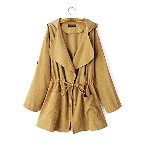 Minetom Damen Mantel Herbst Tunika Parka Trenchcoat Langärmlig Revers Jacke Outwear Khaki