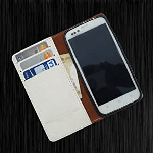 i-KitPit - PU Leather Wallet Flip Case Cover For Lava Xolo A500 Club (WHITE)
