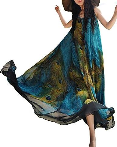 ZANZEA Femme Robe Longue Maxi Bohême en Mousseline Imprimée Col