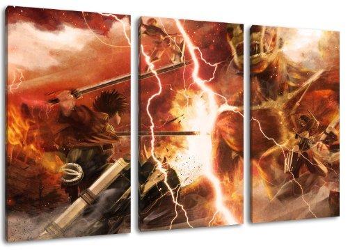 Attack on Titan Motiv, 3-teilig auf Leinwand (Gesamtformat: 120x80 cm), Hochwertiger Kunstdruck als Wandbild. Billiger als ein Ölbild! ACHTUNG KEIN Poster oder Plakat! - Japan Anime-kunst-plakat