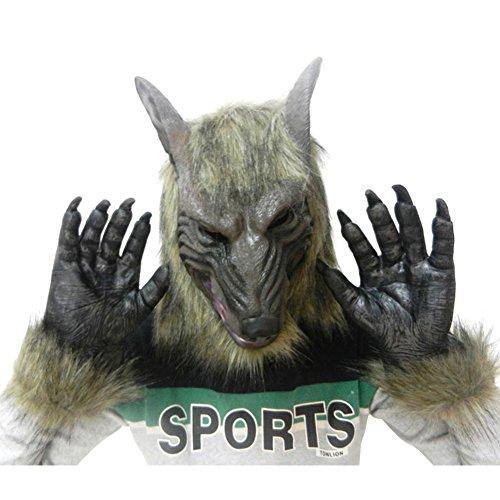 ne, WeGood Wolf-Maske und Handschuh für Halloween Neuheit Halloween Kostüm Partei Cosplay Maskerade Tierkopf Gummimasken (Wolf Package) (Halloween Wolf Kostüm)