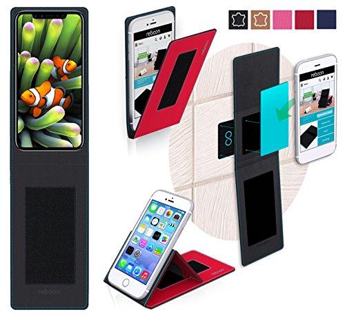 Étui pour Apple iPhone 8 de couleur Cuir Noir - Boîtier innovateur 4 en 1 Coque Smart Cover Case - Support mural anti-gravité, porte-smartphone de voiture, support de table - Boîtier de protection mur Rouge
