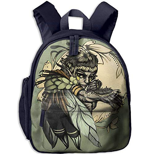 Kindergarten Boys Girls Backpack Black Art Sorcerer Feather Elf School Bag