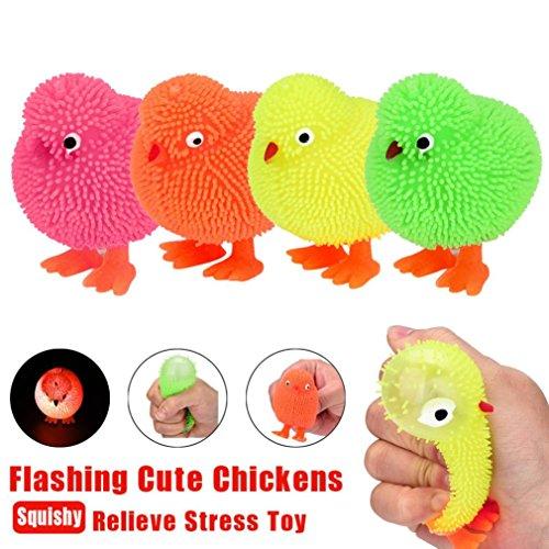 Omiky® 6 CM Neuheit Flashing Puffer Nette Hühner Squidgy Sinnliche Aktivität und Spielen Ball Spielzeug