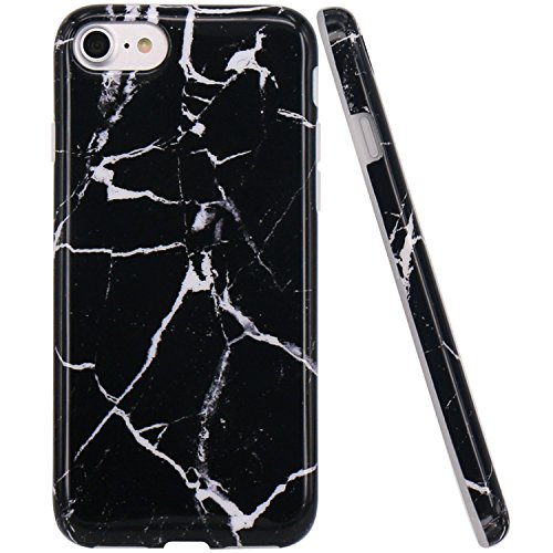 iPhone 7 Hülle, LOVONKI Himmel Blau Marmor Serie Flexible TPU Silikon Schutz Handy Hülle Handytasche HandyHülle Etui Schale Case Cover Tasche Schutzhülle für iPhone 7 Schwarz