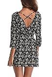 MISS MOLY Damen Sexy Sommerkleider Floral Print Beiläufiges Kleid mit U-Boot-Ausschnitt Dunkel Blau - XS