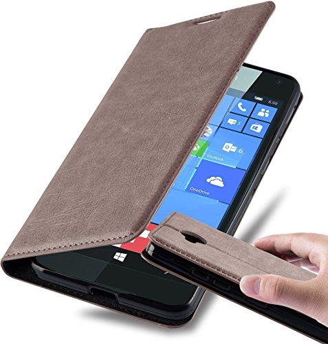 Preisvergleich Produktbild Cadorabo Hülle für Nokia Lumia 650 - Hülle in Kaffee BRAUN – Handyhülle mit Magnetverschluss,  Standfunktion und Kartenfach - Case Cover Schutzhülle Etui Tasche Book Klapp Style