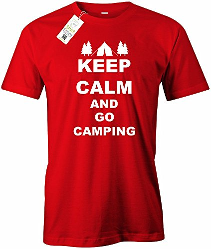 KEEP CALM AND GO CAMPING - HERREN - T-SHIRT Rot
