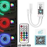 WiFi intelligente RGB (W) LED Strip controller + telecomando a infrarossi (IR) 24 tasti wireless per striscia di luci multicolor, compatibile con Android, iOS Worke con ALEXA, Ifttt Rf-rgb Controller