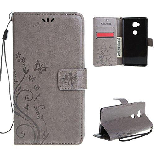 Leathlux Für Huawei Honor 5X Hülle Grau , Vintage Blume Muster Premium PU Leder Schutzhülle Bookstyle Tasche Schale TPU Case mit Trageschlaufe Standfunktion für Huawei Honor 5X 5.5