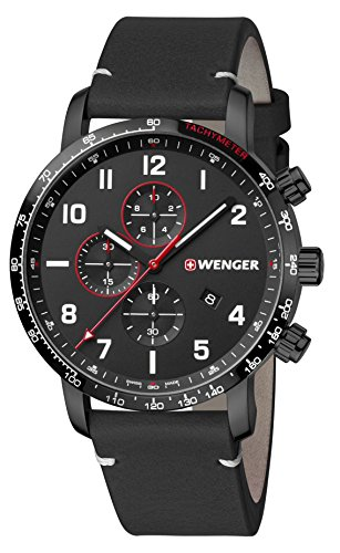 WENGER Hommes Chronographe Quartz Montre avec Bracelet en Cuir 01.1543.106