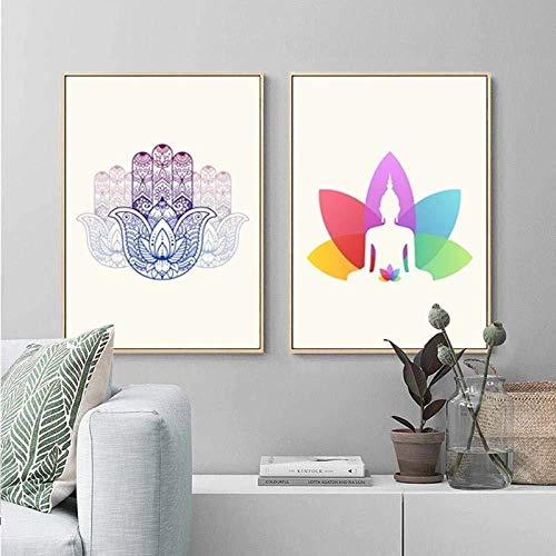shimengran Wandbild Moderne Fotografie Büro Wandmalereibuddha Wandkunst Moderne Yoga Leinwand Gemälde Poster Und Drucke Indische Kunst Bilder Auf Leinwand Für Wohnzimmer Wohnkultur 50 * 70 cm