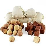 Aszaro Cubos y bolas de cedro en saquitos, 40unidades, 20 bolas de madera de cedro natural, 20 cubos y 5 saquitos, repelente de polillas, moho y humedad para fácil cuidado de la ropa