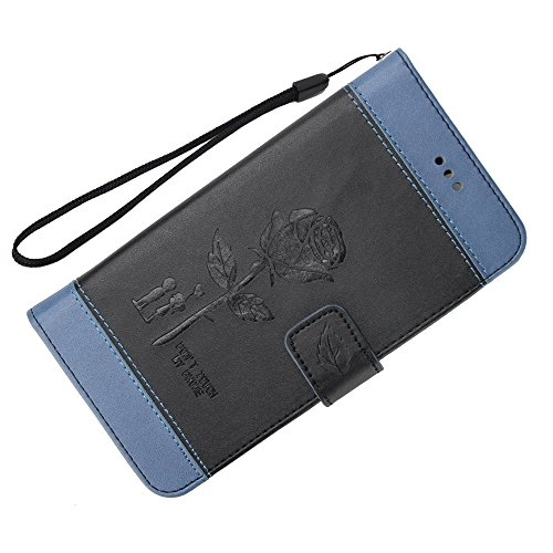 EKINHUI Case Cover Dual Color Matching Premium PU Leder Flip Stand Case Cover mit Card Cash Slots und Lanyard für LG K10 2017 ( Color : Blue ) Black