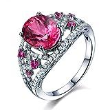 elegant mode Schmuck Solide 14K (585) Weißgold natürlich Rosa Turmaline Edelstein Diamant Hochzeit Verlobungsringe Braut-Ringe für Damen