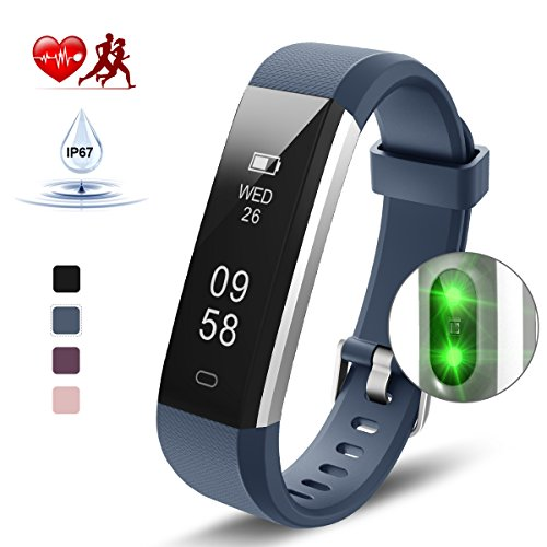 Kungber Fitness Armband, Fitness Tracker mit Pulsmesser, IP 67 Wasserdichte Smart Armbanduhr, Schlafmonitor, Schrittzähler Kalorienzähler für Android und iOS, Geschenk für Damen Herren (Blau)
