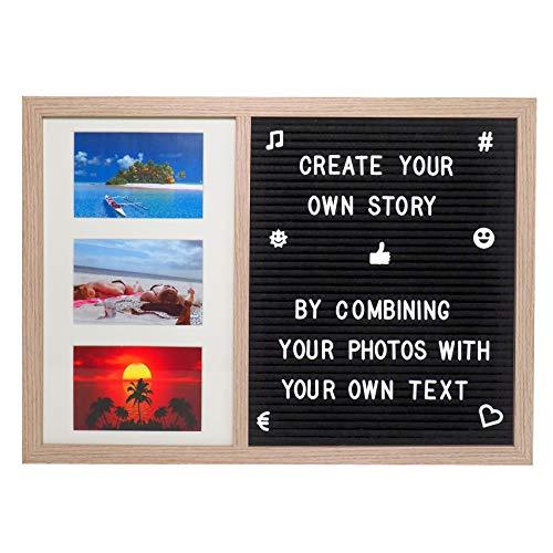 Gadgy ® Letter Board und Bilderrahmen Collagen in einem | 52,2 x 37,7 x 2 cm Groß | Mit 170 Weiße Buchstaben, Symbole & Zahlen
