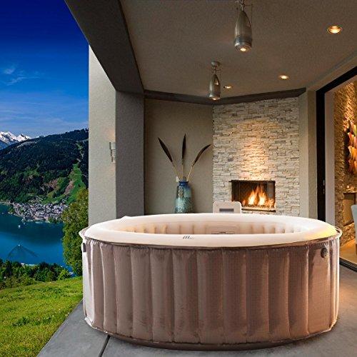 Whirlpool MSpa aufblasbar für 4 Personen SPA Ø180cm 4 Hydrojets 118 Massagedüsen Timer Heizung Bubble Spa Wellness Massage In-Outdoor Pool (Luxus-whirlpool)