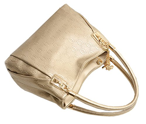 Greeniris mode daman handtasche Kunstleder shopper für Damen Schwarz Schwarz