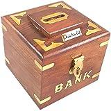 Prisha Inde Craft ® en bois faites à la main de l'argent Box Safe tirelire pour les filles et les garçons de l'argent en bois banque porte-pièces cadeau de Noël Produit 3 X 3 X 4 pouces