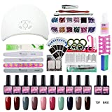 Kit Vernis Semi Permanent Kit Débutant Saint-Acior Lampe UV/LED 36W Gel Polish Soak Off Gel UV LED Vernis à Ongle Topcoat Basecoat Lime Nail Art Ongle 10 Pots 8ml Manucure Strass Brosse Décoraton Kit